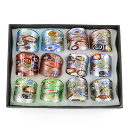 Anneaux en verre faits à la main de sable d'or Millefiori argent feuille de verre Murano anneaux de mélange taille 12pcs / boîte, MC1011 ? partir de fabricateur