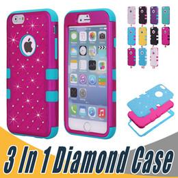 Wholesale Iphone Diamond Gel Case - 3 in 1 Luxury Bling Diamond Dual Color Rhinestone Case Hybrid Armor Defender Hard Silicone Gel Case For iPhone 8 7 Plus 6 6S SE 5 5S 5C