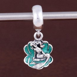 Wholesale Ariel Charm Silver - Authentic 925 Sterling Silver Bead Charm Green Enamel Ariel In Her Shell Pendant Beads Fit Pandora Bracelet Bangle DIY Jewelry