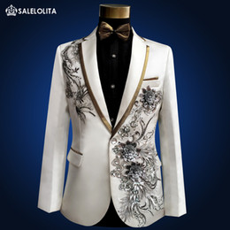 Wholesale Performance Plus - Wholesale- Plus Size high quality Vintage Medieval White Embroidered with diamonds stage performance singer Suit & Blazer Costumes S-3XL