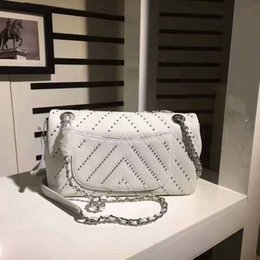 Wholesale Womens Wholesale Handbags - great quality with studs silver strap handbags classic diamond pattern chain shoulder womens cross body bags caviar real leather