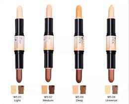 Wholesale Face Pencils - NYX Wonder Stick concealer Highlight & Contour Stick Foundation Face makeup Double-ended Contour stick 4Colors Light Medium Deep Universal
