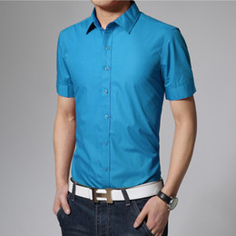 Wholesale Mens Designer Shirts Wholesale - Wholesale- 17 colors solid mens shirts short sleeve summer 2016 new brand camisetas hombre slim fit designer casual shirts size 3xl