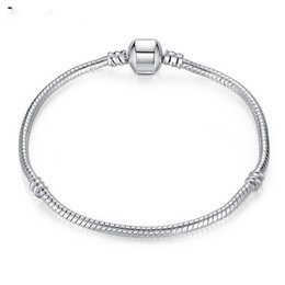 Wholesale Sterling Silver Bead Strands - Wholesale 925 Sterling Silver Charm Bracelets Screw Clasp Bracelet Snake Chain Bangle Fit European Charms Silver Beads DIY Jewelry