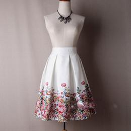 Wholesale Satin Umbrella - Print Flower Short Skirt for Women High Waist Vintage Umbrella Skirt for Girls Satin Floral Skirt