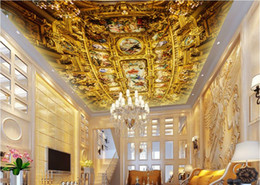 Wholesale gold wallpaper for bedroom - 3d ceiling wallpapers for living room custom 3d ceiling murals wallpaper Luxury gold European architecture wallpaper for walls 3d ceiling
