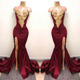 Wholesale Party Dress Wear Sexy - 2017 New Sexy Burgundy Prom Dresses with Gold Lace Appliqued Mermaid Front Split for 2K17 Prom Party Evening Wear Gowns BA5998