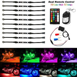 Wholesale Neon Lights For Motorcycles - 10Pcs Motorcycle LED Light Kit Strips Dual IR RF Remote Controller Multi-Color Accent Glow Neon Lights Lamp Flexible for Harley Davidson Hon