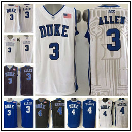 Wholesale Embroidery Logo Shirt - Wholesale 3 Grayson Allen 4 JJ Redick Duke Blue Devils Men's College Jerseys High Quality Basketball Shirts Embroidery Logos Free Shipping