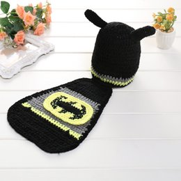 Wholesale Baby Shooting - aby photo props baby newborn photography set baby photography accessories baby cap Batman girl hat newborn photo shoot