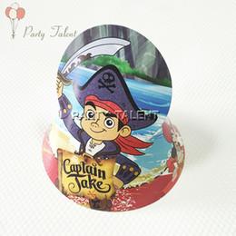 Wholesale Paper Pirates - Wholesale-Party supplies 20PCS Kids children Captain Jake Pirate theme party, birthday party decoration paper cap hat