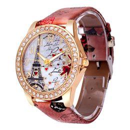 Wholesale Best Deals Dresses - Best Deal Quartz Watch Women Fashion Tower Pattern Diamond Dial Watches Men Faux Leather Watch Women's Dress Clock Montre Reloj