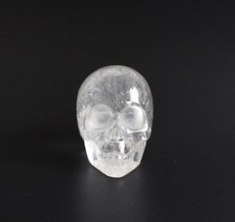 Wholesale Crystal Skull Carving - 1.9 INCHES Natural Tumbled Clear Quartz Carved Crystal Reiki Healing Skull Statue with a Velvet Pouch