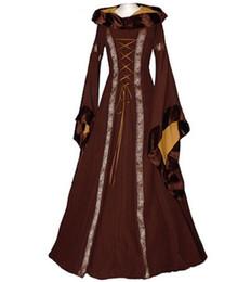 Wholesale vintage carnival costumes - Vintage Style Gothic Dress Floor Length Women Cosplay Dresses Retro Long Medieval Dress 4 Colors S-XXL