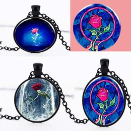 Wholesale Diamond Necklace Photos - Beauty and the Beast Chain Necklace Grils Women Jewelry Gothic Glass Photo Rose Flower Cabochon Vintage Time Gemstone Pendant Necklace gifts