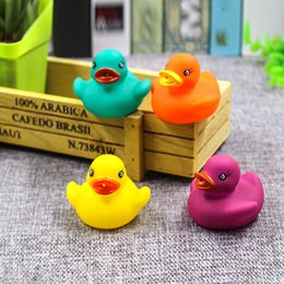 Wholesale Toys Animes - Four-color Baby Bath Water Duck Toy Sounds Mini Yellow Rubber Ducks Bath Small Duck Toy Children Swiming Beach Gifts free shipping