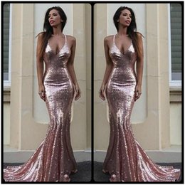 Wholesale Backless Halter Plunge Dress - Sexy Bling Sequined Open Back Prom Dresses 2018 Long Party Prom Gowns Halter Plunging V Neck Pageant Red Carpet Dresses