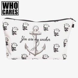 Wholesale Pirates Makeup - Nice- Pirates Anchor 2D Printing Makeup Bag Women Neceser Bolsos Mujer De Marca Famosa Nice New Cosmetic Bag Bolsa Neceser Maquillaje