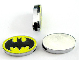 Wholesale Sign Accessories - (20 , 50)PCS lot 8MM Enamel Batman Sign DIY Slide Charms Alloy Accessories Fit For 8mm Leather Wristband Keychains Fashion Jewelrys