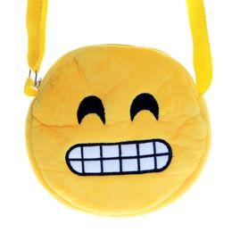 Geldbörse gelb online-Schöne Umhängetasche Gelb Runde Kleine Reißverschluss Handtasche Beliebte QQ Emoji Plüsch Münze Storag Brieftasche Geschenke Für Kinder 6 2bf C R