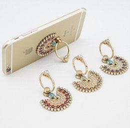 Wholesale Diamond Dock - Universal Luxury Peacock Diamond Finger Ring Phone Holder Mount For iPhone 5 5s 6 6s Samsung Mobile Phones Tablet Dock