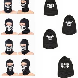 Wholesale tactical helmet face mask - Tactical Skull Caps Mouth Balaclava Outdoor Windproof Breathable Mash Balaclava CS Full Face Mask Helmet Full Face Mask Hats Cap KKA2525