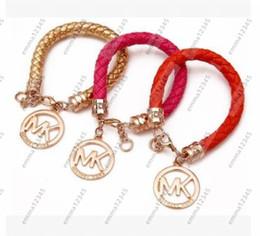 Wholesale Green Day Wristbands - Hot Sale PU Leather Bracelet Brand M Bracelet Fashion Clasp Bracelet Wristband Jewelry
