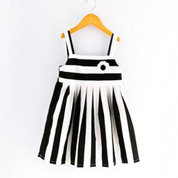 Wholesale Dress Black White Stripes - Everweekend 2017 Girls Summer Stripes Suspender Dress Hater Black and White Sundress Western Princess Holiday Dress