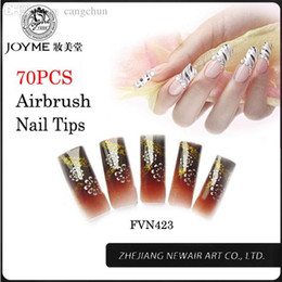 Wholesale Designer French Nail Tips - Wholesale-Artificial False Nails 70pcs Fashion Classic Pattern Nail Tips With Glitter French Airbrush Fake Nails Long Designer Finished