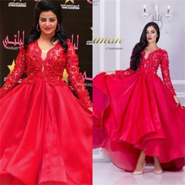Wholesale Womens Red Sequin Dresses - Ball Gown Long Sleeve Red Muslim Evening Dress Womens 2017 Ruffled Lace Appliques Sequin V Neck Elegant Organza Arabic Evening Gowns