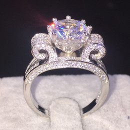 Wholesale Crown Design Jewelry Rings - Fashion Women Gift 925 Sterling Silver Jewelry Brand Engagement Wedding Rings Flower Crown Design 4CT Diamond Level CZ GemStone Rings