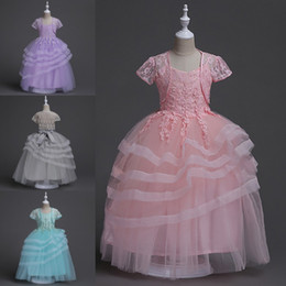 Wholesale Layered Ruffles Kids Dresses - 2017 Summer Pageant Girls Dresses Layered Ruffles Ball Gowns Long Kids Formal Wear Gowns with Appliqued Flower Girl Dresses Cheap MC1248