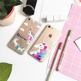 Wholesale Wholesale Designer Cell Phone Cases - Unicorn Designer Cell Phone Cases For Apple iphone5 6 6plus 7 7plus 20 Color Multiple Styles Cute Creative