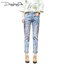 Wholesale Girl Effects - Wholesale- DONGDONGTA Jeans Women Regular Female Cross-pants Appliques Hole Moustache Effect Scratched Girl pants Brand Free Shipping