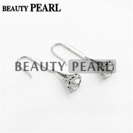 Wholesale Earring Blanks Silver - Bulk of 3 Pairs Earrings Setting for Round Pearls or Cabochons 925 Sterling Silver Zircon Earring Blanks