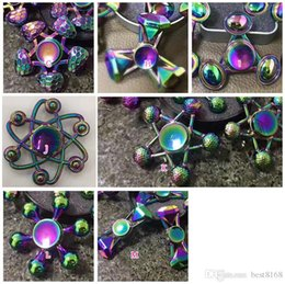 Wholesale Metal Ufo Toy - Bling Diamond Tri Hand Spinners EDC UFO Fidget Spinner Fingertip Gyro Anti-Anxiety Toy Intelligence Metal Aluminum Rainbow Colorful Hot New