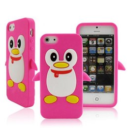 Wholesale Silicone Cover Penguin - For iPhone 5 5G 5S SE Adorable Hot pink Penguin Silicone Novelty 'Cute PENGUIN' Silicone Cover   Case