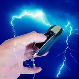 Wholesale Electric Yiwu - Party Joke Fun Stun Gun Flash Light Car KeyChin Mini Pocket Size powerful Electric Shock Toy Flashlight laser Lighting