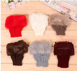 Wholesale Paragraph Rabbit - Wholesale- One pieces plaid mittens imitation rabbit fur short paragraph wool knitting winter the gloves mittens Felt Mitten 5 color