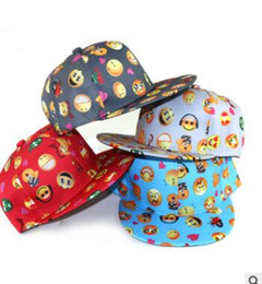 Wholesale Baby Sunhats - Baby Hats QQ Emoji Pattern Baseball Caps Cartoon Children Outdoor Flat Along Hats Kids Hip Hop Fashion Emoji Caps Baby Summer Sunhats J432