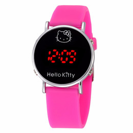 Wholesale Led Watches For Girls - Multi Color Fashion Cartoon Watch Hello Kitty Watch for Girls Kid Children Casual Silicone Digital LED Quartz Wristwatches Reloj