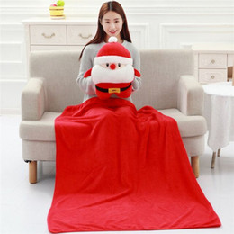 Wholesale Father Christmas Cushion in Warm hand Pillow cm Blanket cm Multifunction Xmas plush Cushion Portable Coral blanket