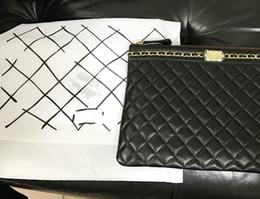 Wholesale Ipad Leather Bags - 2017 luxury genuine leather ipad case lambskin top quality classic makeup bag wholesale cosmetic cases original box zipper purse