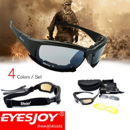Wholesale Protective Goggles Sports - High quality Daisy X Military Sunglasses with Box and Accessories Outdoor Fields Glasses CS Tactical Protective Glasses Sports Goggle