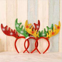 Wholesale Headbands Party Supplies - Deer ears headband hoop dance festival Children Red and Green ears head hoop hairband Christmas birthday party supplies