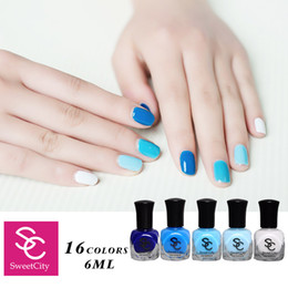 Wholesale Sweet Nail Polish Candy - Wholesale- Sweet City Nail Polish Lacquer Varnish Hybrid Long Lasting and Quick Dry Manicure DIY Beauty Nail Art Tools 19 Candy Colors 6ml