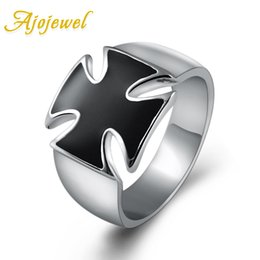 Wholesale Enamal Jewelry - Ajojewel Brand Classic Man Jewelry Fashion Simple Cool Silver Enamal Black Cross Men Ring Without Stone