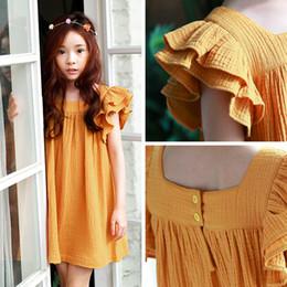 Wholesale Korea Summer Short Dress - Korea Princess Girl's Dresses Puff Sleeve Pure Cotton Girls Beach Holiday Dress Summer Children Clothing Girl Party Dress A7026