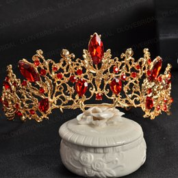 Wholesale Hair Bridal Big Tiaras - Gold Siver Bridal Tiara with Red Crystal High Quality Stunning Big Pageant Crown no Comb Free Shipping Brithday Party Photo Hair Accessories