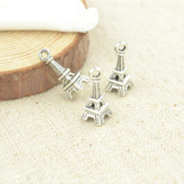Wholesale Tibetan Necklaces For Sale - Free shipping Hot sale 100pcs lot antique charms tibetan silver metal floating Eiffel Tower diy pendants for jewelry making 2991
